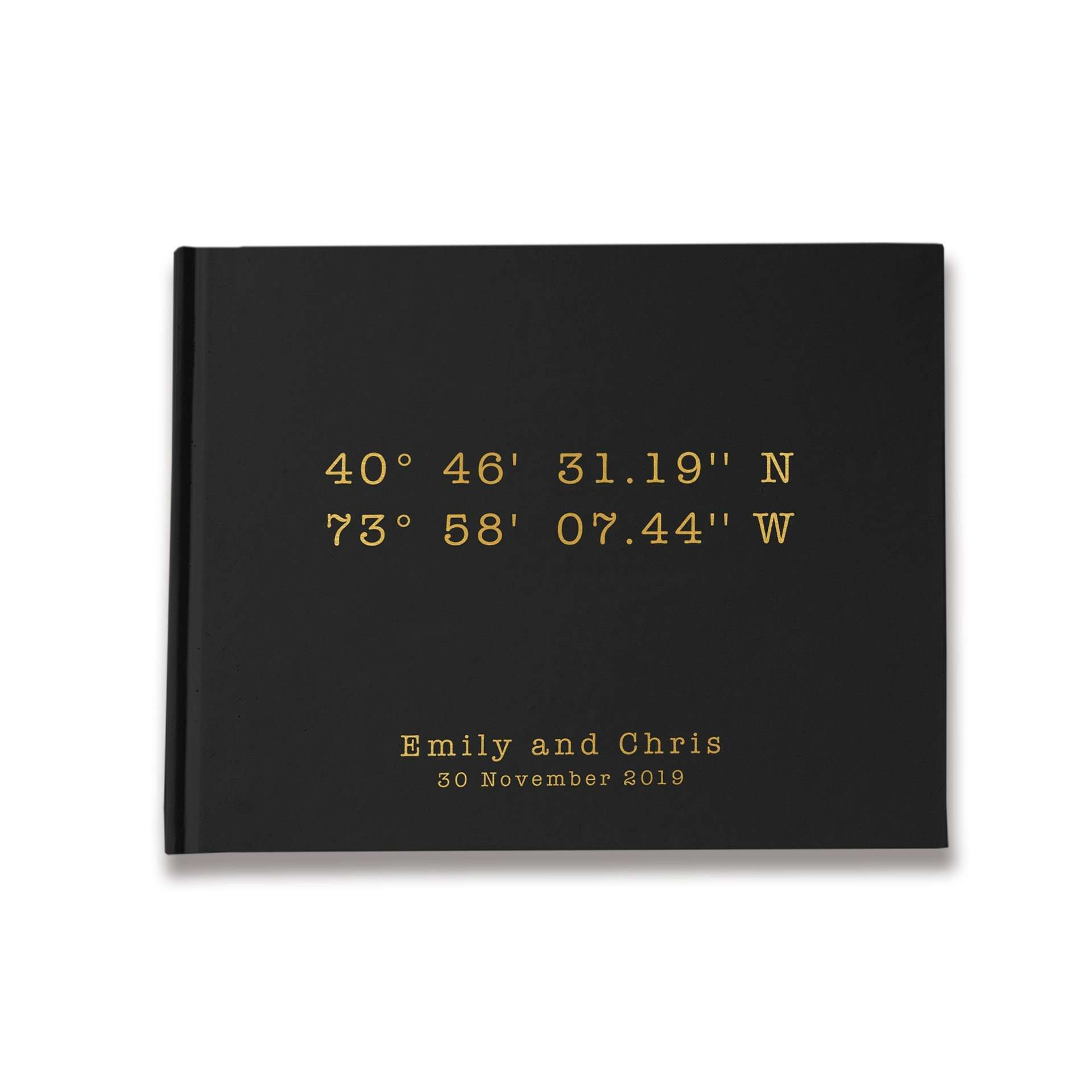 Our Place | Black & Gold Wedding Guest Book