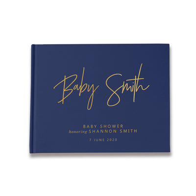 Modern Take | Navy & Gold Baby Shower Guest Book