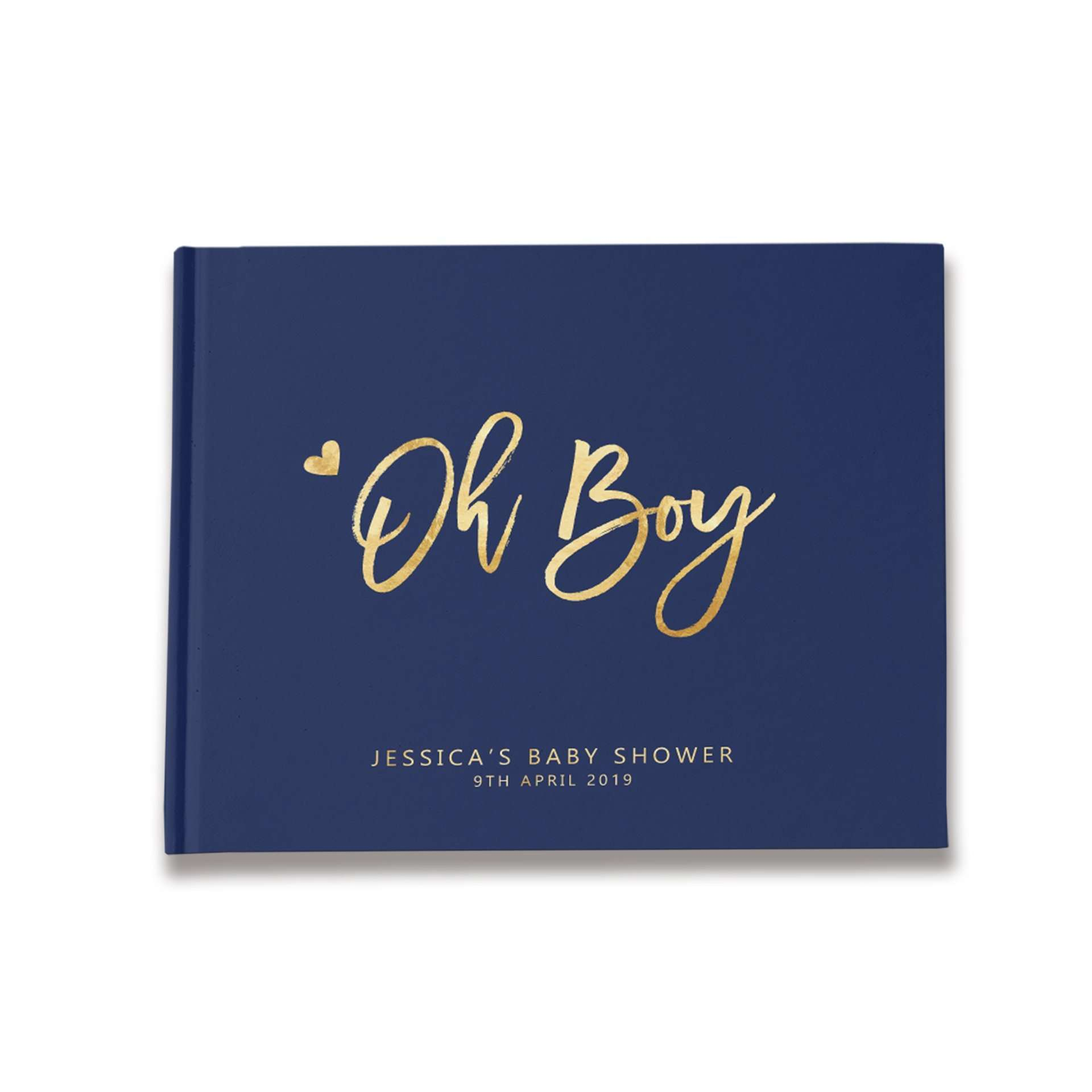 Oh Boy | Navy Blue & Gold Baby Shower Guest Book