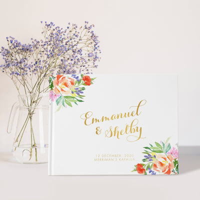 Peach Floral | Gold Foil Wedding Guest Book