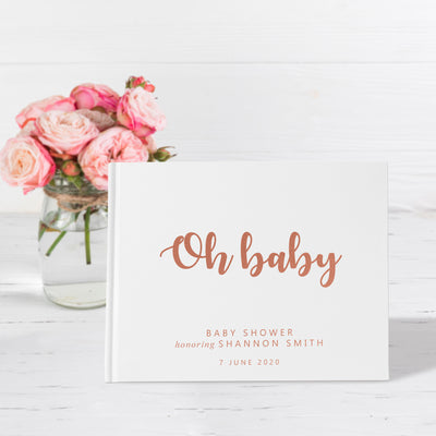 Oh Baby | White & Rose Gold Baby Shower Guest Book