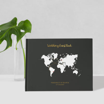 Map | Black Wedding Guest Book