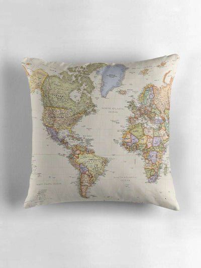 Vintage Map Cushion (Americas, Africa & Europe)
