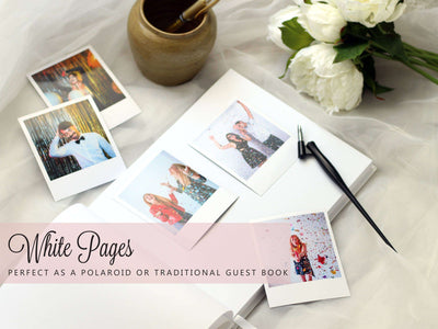 Kate | White & Silver Wedding Guest Book