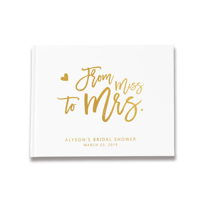 Miss to Mrs | White and Gold Bridal Shower Guest Book