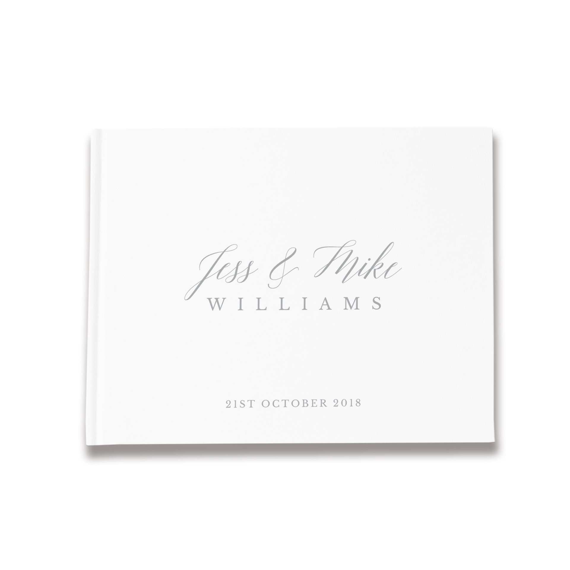 Ava | Silver & White Wedding Guest Book