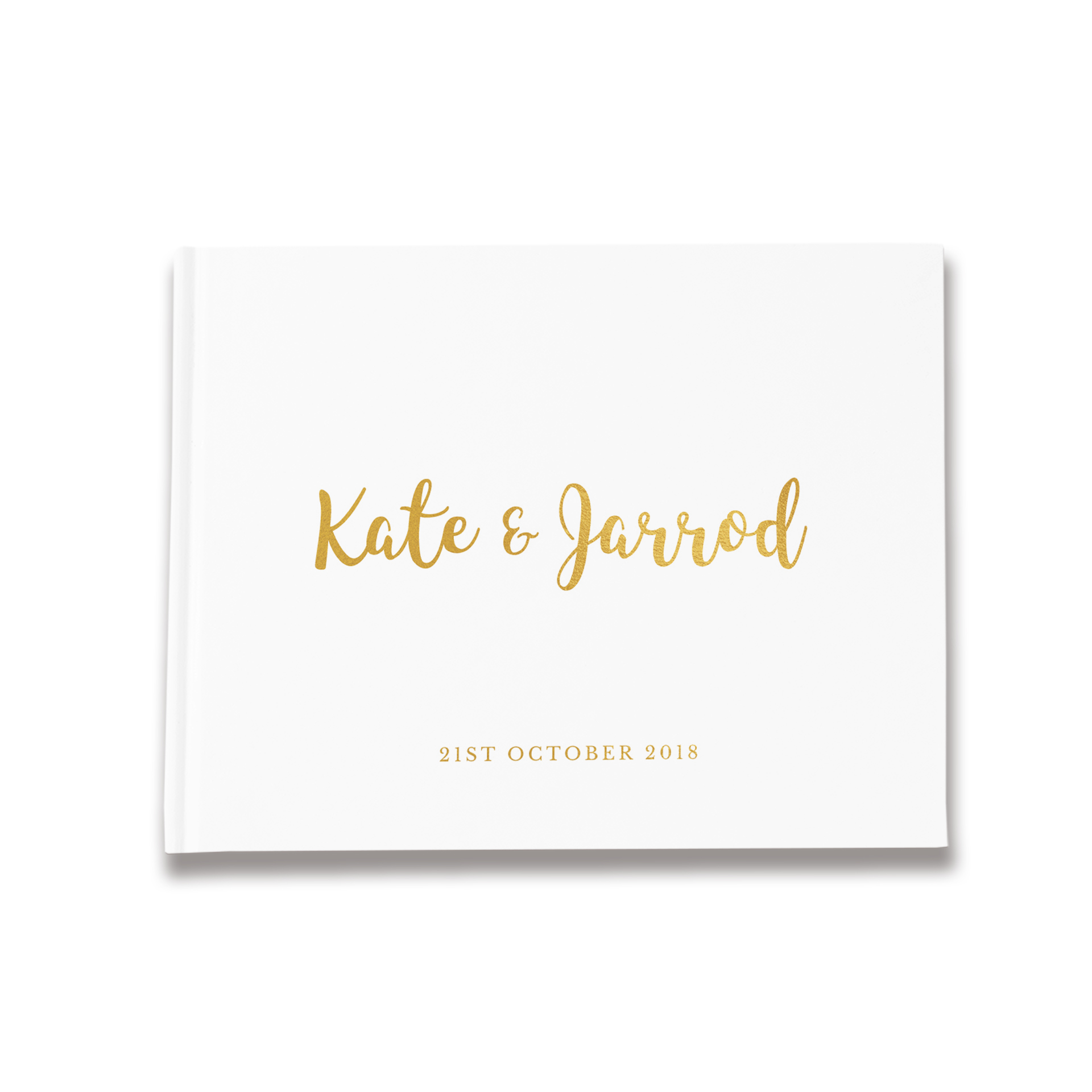 Modern Script | White & Gold Wedding Guest Book