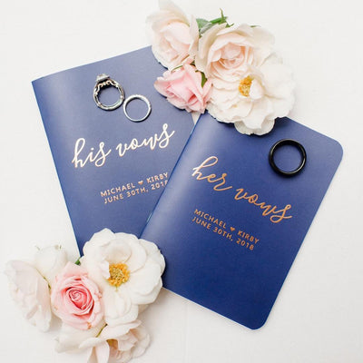 Navy and Gold Vow Books