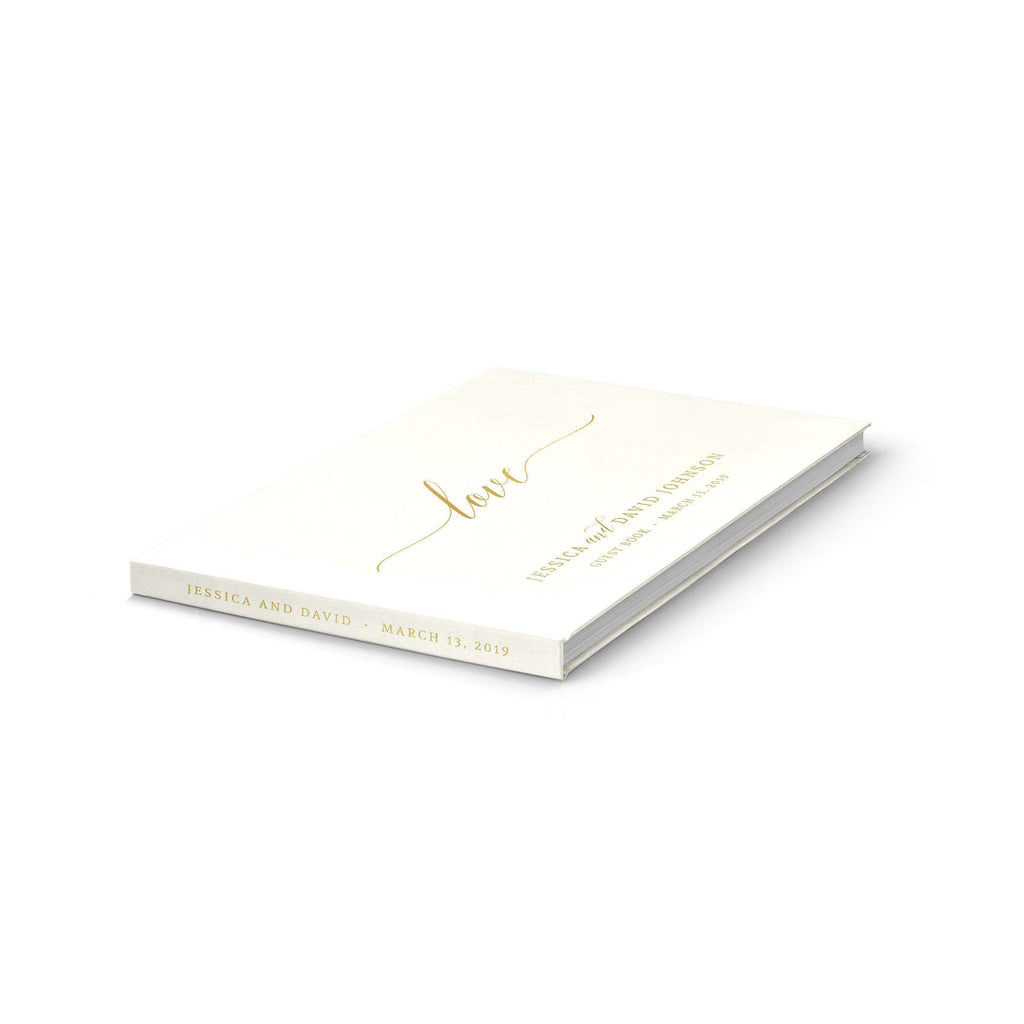 Darling Love Wedding Guest Book | Ivory & Gold