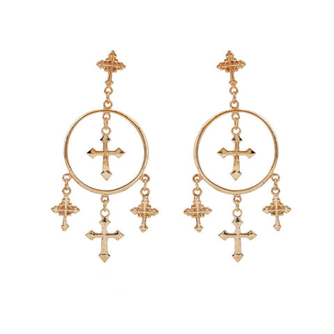 Gold Cross Chandelier Hoop Statement Earrings – The Trendi Shop