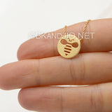 Dainty Circle Bee Necklace