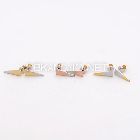 Dipped Plating Triangle Stud Earrings