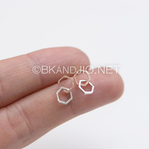 Linked Hexagons Stud Earrings