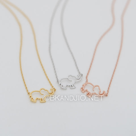 Outline Baby Elephant Necklace