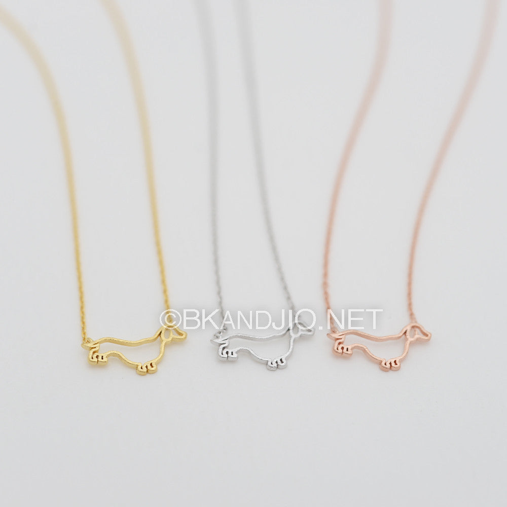 Outline Dachshund Dog Necklace
