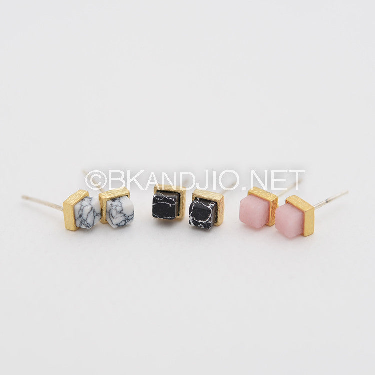 Cube Gemstone Stud Earrings