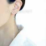 Fresh Water Pearl Long Chain Earrings in Sterling Silver