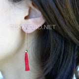 Delicate Tassel Drop Earrings in Sterling Silver