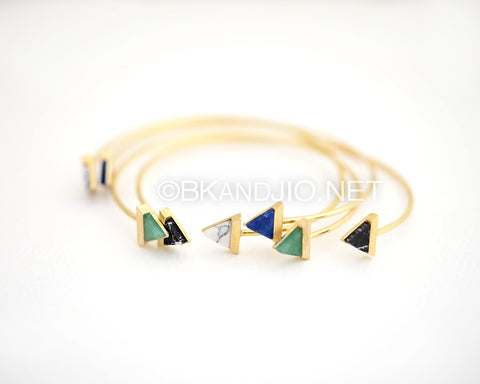 Triangle Gemstone Bangle Bracelet