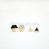 Hexagon Gemstone Stud Earrings
