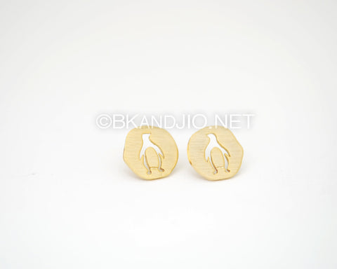 Coin Penguin Stud Earrings