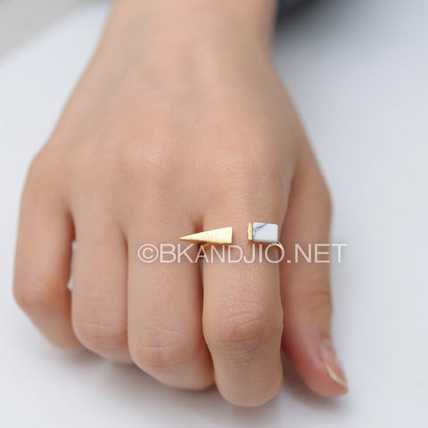 Square Steeple Gemstone Ring