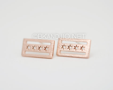 Flag of Chicago Studs Earrings