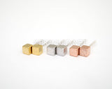 Brushed Cube Studs Earrings