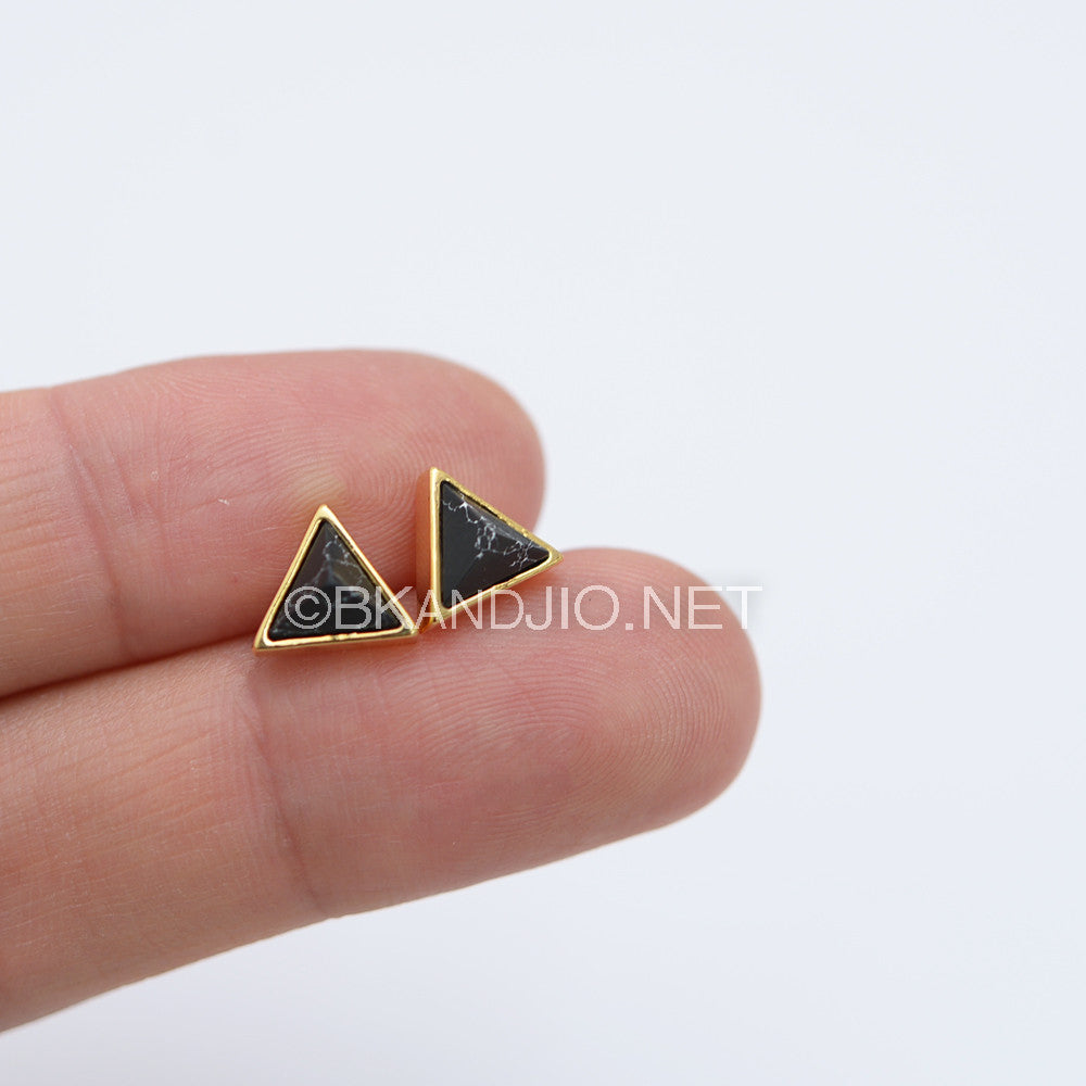 3D Pyramid Gemstone Stud Earrings