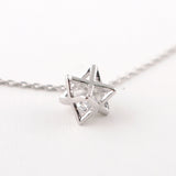 Silver Rhinestone in Dubble Pyramid Necklace