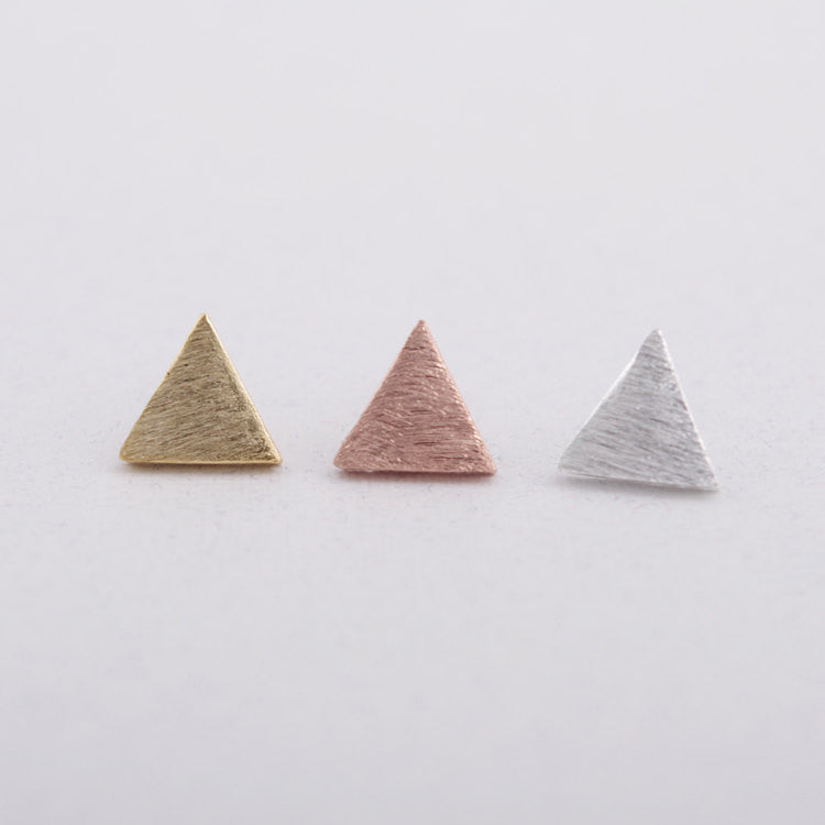Brushed Triangle Stud Earrings