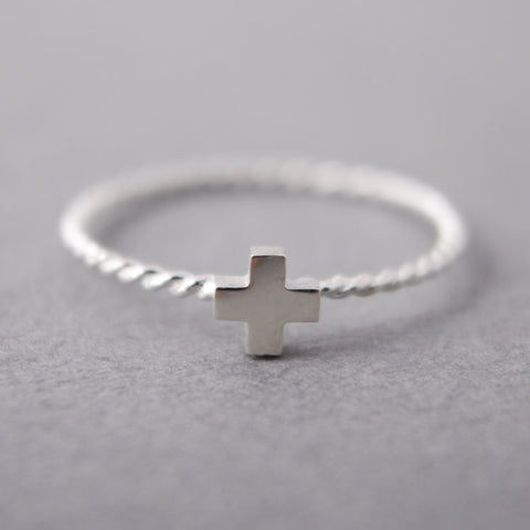 Sterling Silver Single Tiny Cross Ring