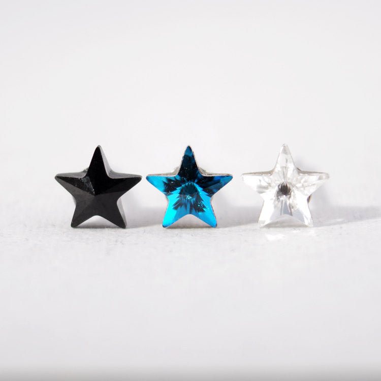 Swarovski Star Stud Earrings - Black/ Arctic Blue/ Crystal