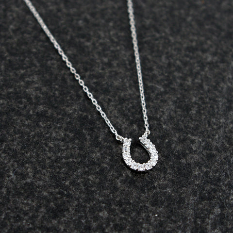 Sterling Silver Horseshoe Necklace with Signity CZ