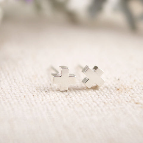 Sterling Silver Tiny Cross Stud Earrings