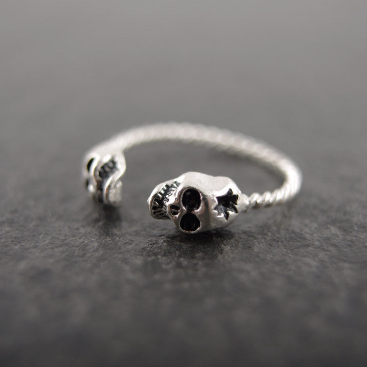 Sterling Silver Double Skulls Ring