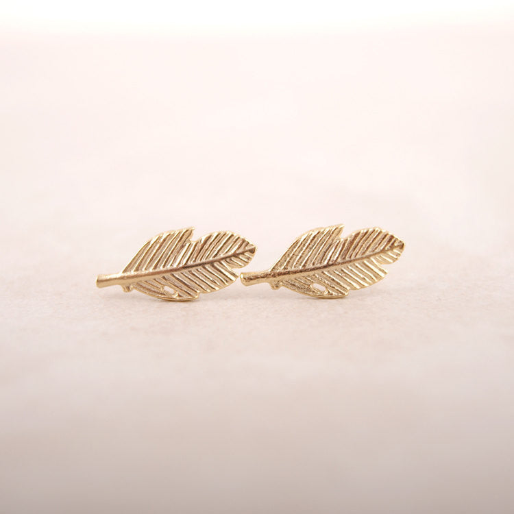 Sterling Silver Fallen Leaves Stud Earrings