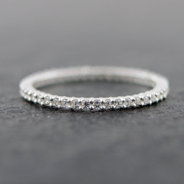 Sterling Silver Diamante Band Ring