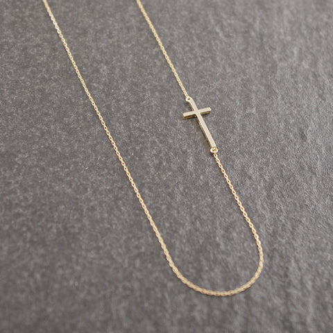 Sterling Silver Off Centered Sideways Cross Necklace