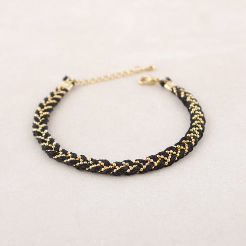 Braided Satin Thread with Ball Chain Bracelet