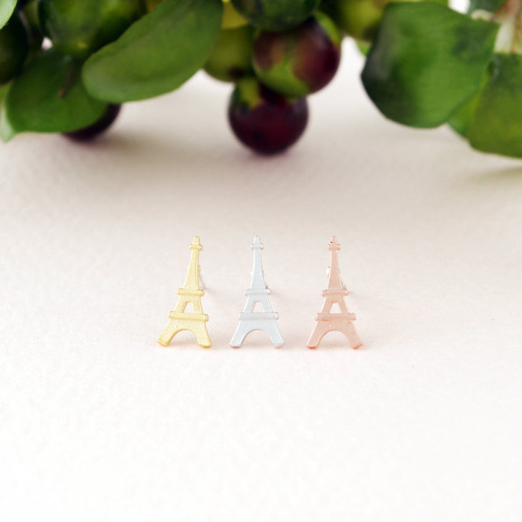 Dainty Eiffel Tower Stud Earrings