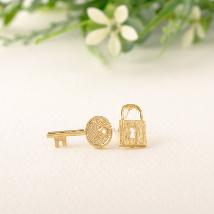 Key & Lock Stud Earrings