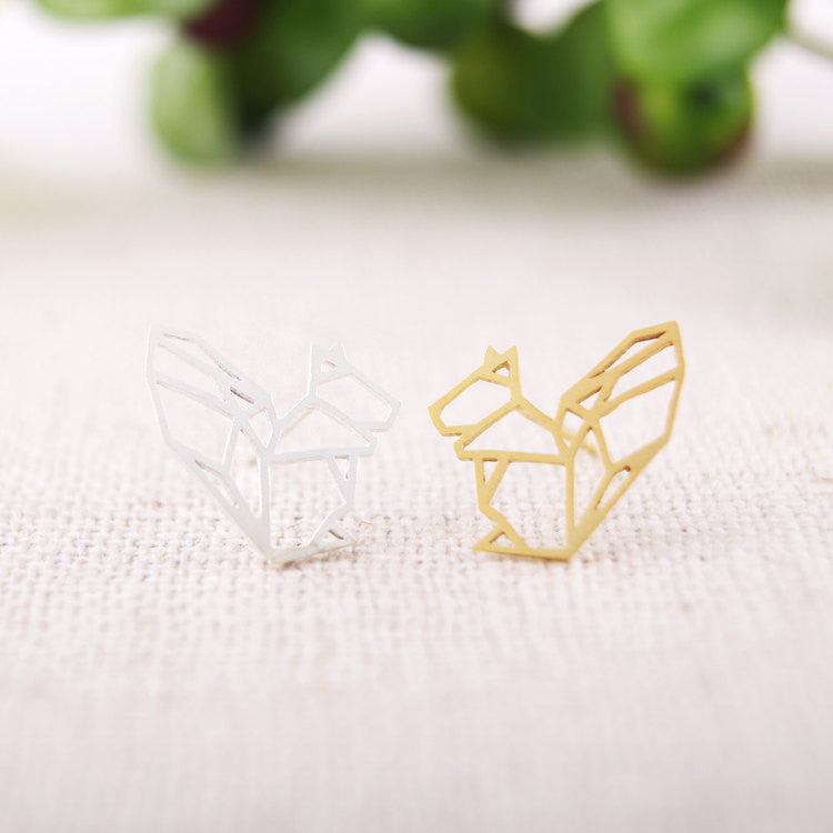 Origami Squirrel Stud Earrings
