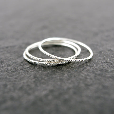 Sterling Silver SET of 3 Stacking Knuckle Band Rings