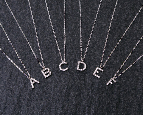 Sterling Silver Initial Necklace in Signity Stones