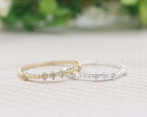 Single CZ Band Ring, Knuckle Ring