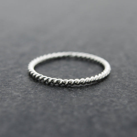 Sterling Silver Twisted Stack Ring/ Knuckle Ring/ Midi Ring