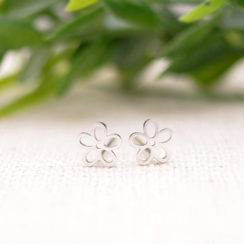 Sterling Silver Five Leaves Flower Stud Earrings