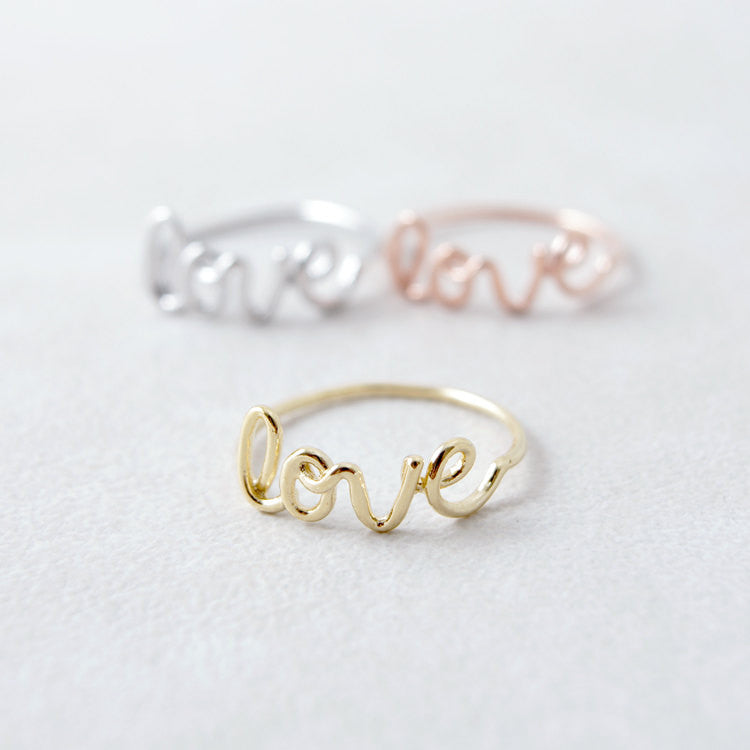 Wire Love Letter Ring
