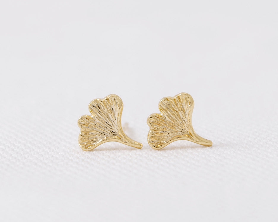 Ginkgo Leaf Stud Earrings